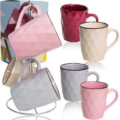 021-04-11 Набор 4 чашки на стойке Грани 350мл