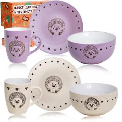 1591-12 Набор для завтрака 3пр. Hedgehog (тарелка 19см, чашка-400мл, пиала-500мл)