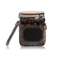 7088-1 Емкость для сыпучих продуктов с бамбуковой крышкой, доской для надписей 800мл