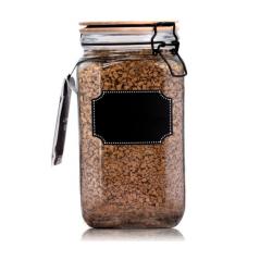 7088-2 Емкость для сыпучих продуктов с бамбуковой крышкой, доской для надписей 1,35л