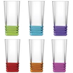 7-030 Набор стаканов Цветовое дно 335мл
