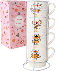 021-04-12 Набор 4 чашки на стойке Happy cat 320 мл