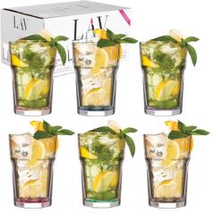 7-041 Набор стаканов Цветное дно 365мл