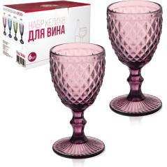 9444 Набор бокалов для вина 6шт Аргайл 240мл бордо