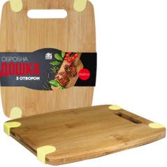8850 Доска разделочная бамбук/силикон с отверстием 30*20*1,5см