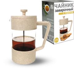 9152 Заварочный чайник с поршнем 350мл (эко пластик+ боросиликатное, упрочненное стекло)