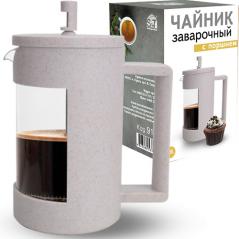 9151 Заварочный чайник с поршнем 1000мл (эко пластик+ боросиликатное, упрочненное стекло)