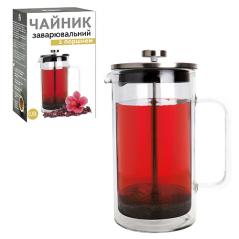 9155 Заварочный чайник с поршнем 800мл  (боросиликатное, упрочненное стекло, с двойной стенкой)