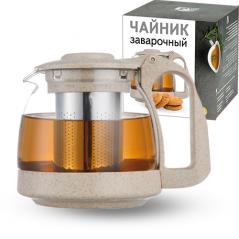 9161 Заварочный чайник 700мл (эко пластик+ боросиликатное, упрочненное стекло)