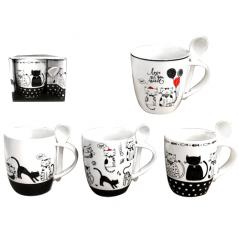 2063-04 Чашка с ложкой Коты 400мл