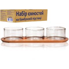 7089-1 Набор емкостей на бамбуковой подставке (подставка - 33,5*11,5см, емкость - 340мл)