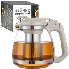 9162 Заварочный чайник 1500мл (эко пластик+ боросиликатное, упрочненное стекло)