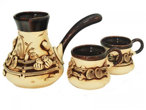 50103 <a href='http://snt.od.ua/ru/poisk.html?q=Кофе' />Кофе</a>йный набор (Турка большая 700мл и 2 чашки 220мл)