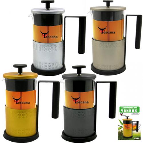 9016 Заварочный чайник с поршнем 400мл, 4 цвета <a href='http://snt.od.ua/ru/poisk.html?q=Микс' />Микс</a> с тиснением