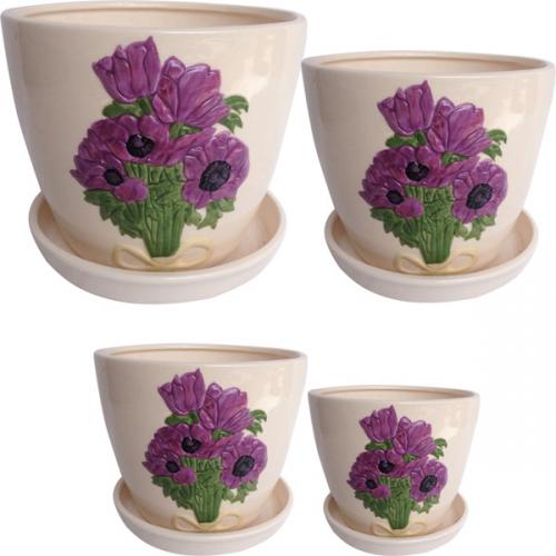647-005 Набор цветочных горшков Пурпурные <a href='http://snt.od.ua/ru/poisk.html?q=цветы' />цветы</a> 4шт 19 * 15,5 (2,9л),  15 * 13 (1,5л) ,  12,5 * 10,5 (0,8л),  9,5 * 8 (0,3л)
