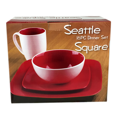 439 Набор обеденный 16пр. (бело-красный) (чашка-500мл, салатник-740мл, тарелки-8.5', 10.5')