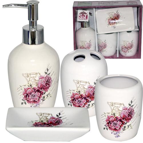 888-06-002 Набор 4предмета (мыльница, подставка для зубных щеток, стакан, диспенсер для мыла) '<a href='http://snt.od.ua/ru/poisk.html?q=Цветы' />Цветы</a>'