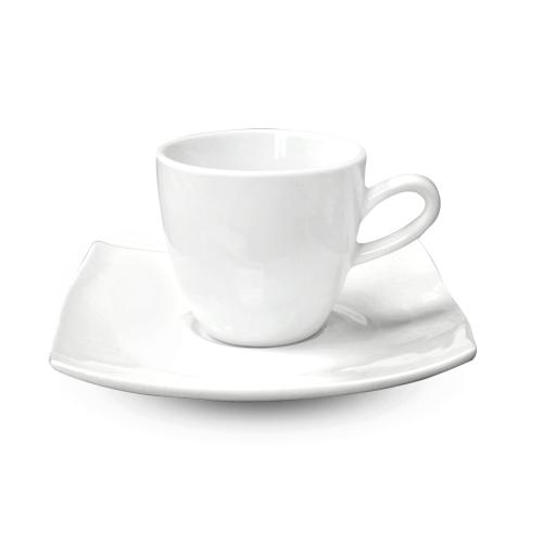 13641-09 Чашка с блюдцем белая (чашка-200мл,блюдце-15,5см) Хорека