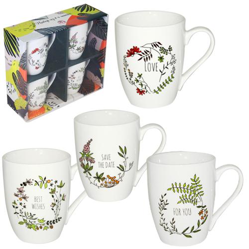 1591-08 Набор 4 чашки Wishes в подар. упаковке 350мл